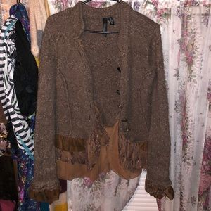 Brown Wool Blend cardigan sweater